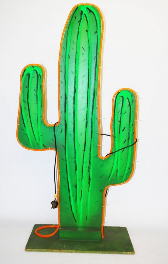 large cactus  6ft    wooden with lights