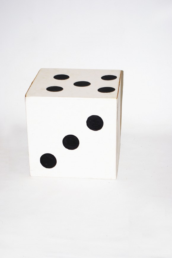 Large dice cardboard theme prop hire for Large cardboard cut out numbers