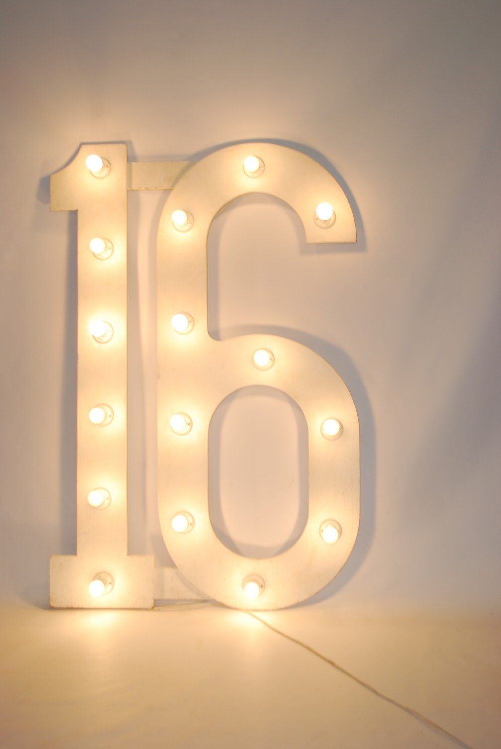 Large Number 16 (with bulbs / on stand) - 1.4m High x 0.85m Wide | Theme  Prop Hire